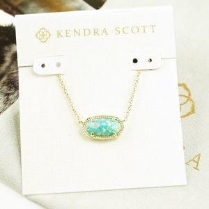 Kendra Scott Elisa opal necklace aqua green
